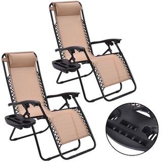 Costway 2PC Zero Gravity Chairs Lounge Patio Folding Recliner Beige