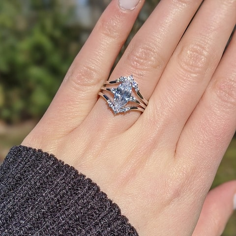 TwoBirch 925 Silver Marquise Three Ring Bridal Set with Marquise Engagement Ring and Two Matching Chevron Contour Bands