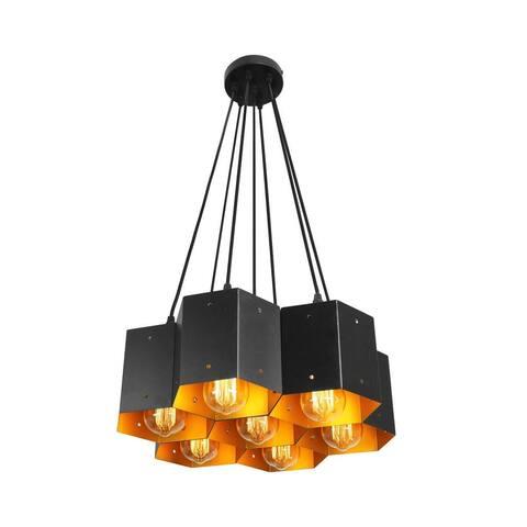 7 light modern industrial cellular black pendant light
