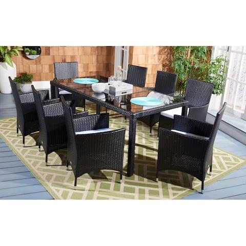 SAFAVIEH Outdoor Hailee 9-Piece Wicker Dining Set