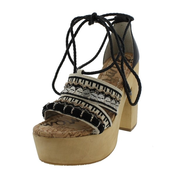 Sam Edelman Womens Mel Heels Open Toe Embroidered - 6 medium (b,m)