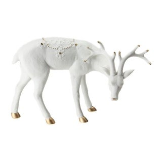 """8.75"""" Ivory White Christmas Reindeer with Gold Gemstones Table Top Decoration"""