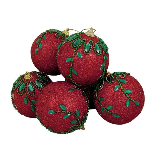 6 December Diamonds Red and Green Shatterproof Christmas Ball Ornaments 3.75""