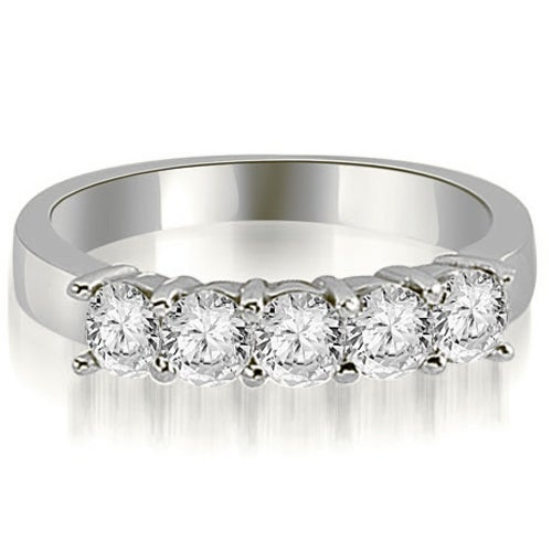 1.50 cttw. 14K White Gold Round Diamond Classic 5-Stone Prong Wedding Band