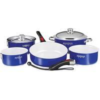 """Magma 10-Piece Gourmet """"Nesting"""" Cobalt Blue Cookware Set w/Ceramica Non-Stick"""