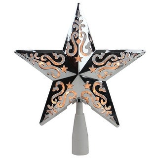 """8.5"""" Silver Star Cut-Out Design Christmas Tree Topper - Clear Lights - N/A"""
