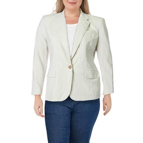 Lauren Ralph Lauren Womens Wilona One-Button Blazer Wool Professional - Winter Cream