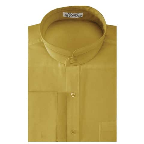 Men's Solid Banded Collar French Cuff Dress Shirt Solid Color
