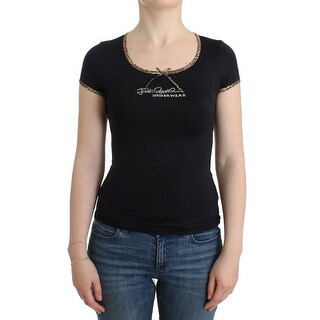 Cavalli Cavalli Black Nylon Top T-Shirt - it46-xl