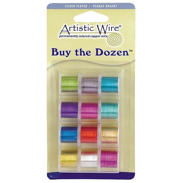 Artistic Wire, 12 Pack Craft Wire Assortment - Multi-Color Silver Plated 24 Gauge