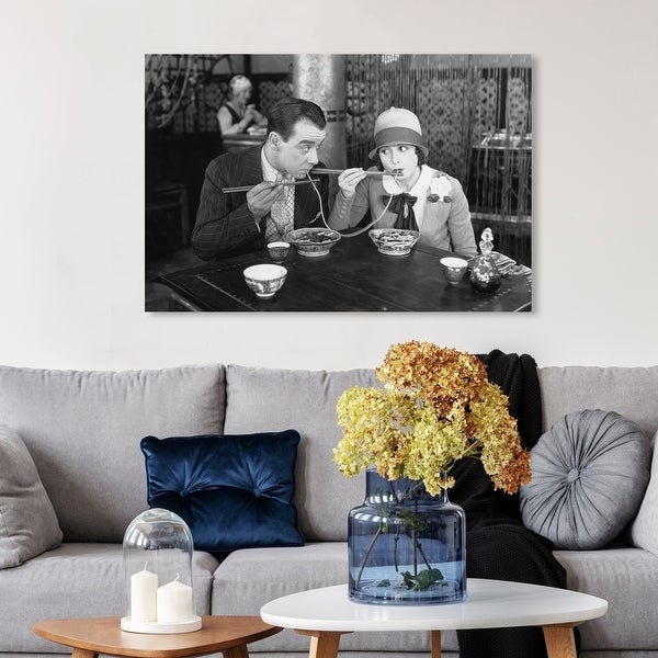 Wynwood Studio 'Romantic Dinner' People and Portraits Wall Art Canvas Print Couples - Black, White. Opens flyout.