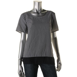 MICHAEL Michael Kors Womens Split Back Layered Casual Top