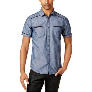 I-N-C Mens Chambray Button Up Shirt