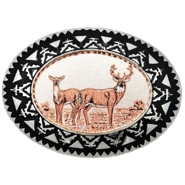 Copper Belt Buckle with Deer Detail - One size