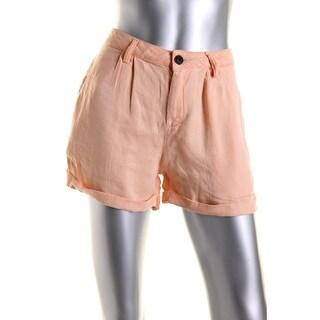 Zara Basic Womens Linen Blend Cuffed Casual Shorts