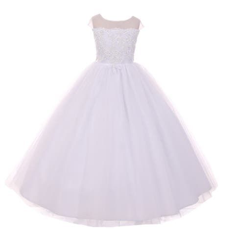 52a8db7de7 Rain Kids Girls White Sheer Organza Satin Sequin Pearl Communion Dress
