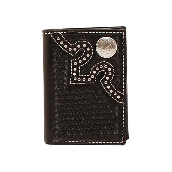 Nocona Western Wallet Mens Trifold Leather Studs Concho Black - One size