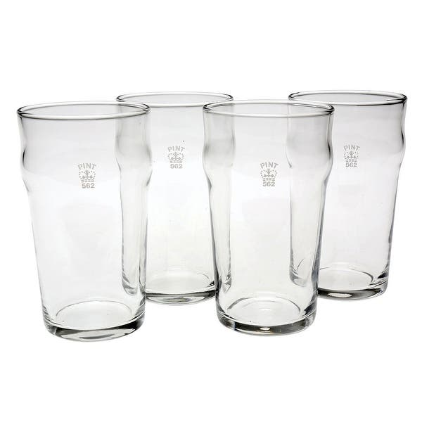 Set Of 4 Nonic One Pint Glass Government Stamped Clear Overstock 20062282