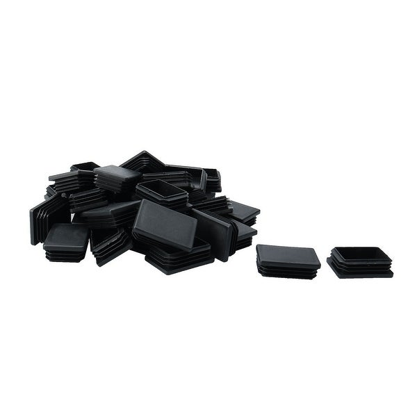 35pcs 40 x 60mm Plastic Rectangle Ribbed Tube Inserts End Cover Cap Furniture Table Feet Floor Protector