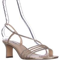 Nina Gerri Cross Strap Evening Sandals, Taupe Reflective