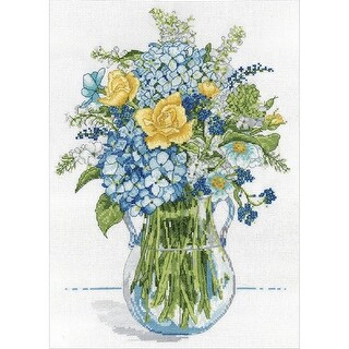 "Blue & Yellow Floral Counted Cross Stitch Kit-10""X14"" 14 Count"