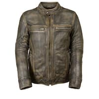 Mens Distressed Leather Scooter Jacket with Venting