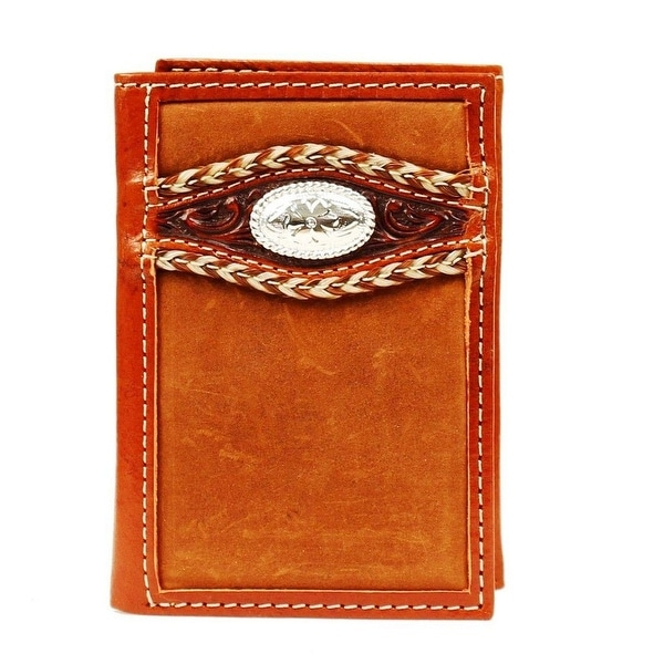 Ariat Western Wallet Mens Trifold Overlay Braid Medium Brown - One size