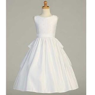 White Satin Pearled Tea Length First Communion Dress Girls 6-14