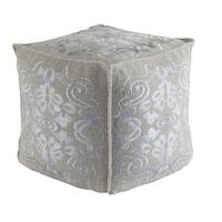 "18"" x 18"" Dolphin and Haze Gray Square Woven Wool Decorative Pouf Ottoman"