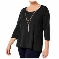 NY Collection Black Womens Size 1X Plus Necklace Scoop Neck Blouse