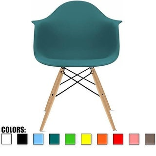 2xhome Teal Eames Dining Room Arm Chair With Natural Wood Eiffel Style Legs
