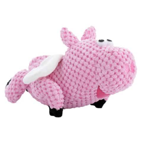 GoDogAC Q770104 Checkers Flying Pig Dog Toy w/ Chew Guard Technology, Pink, Small