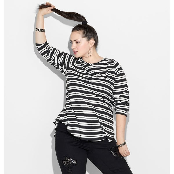 fcddaed5bcf1 Shop LORALETTE Women's Striped Button Sleeve Top - Hematite - Free Shipping  On Orders Over $45 - Overstock - 27636758
