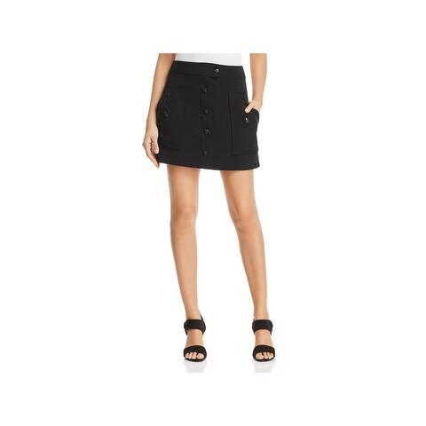 T Tahari Womens Shauney Mini Skirt Button-Down Mini