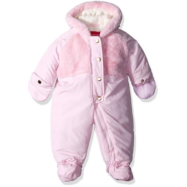 London Fog Girls 0-9 Months Plush Faux Fur Snowsuit - Pink