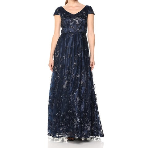 Alex Evenings Blue Womens Size 6 Sequined Metallic Embroidered Gown