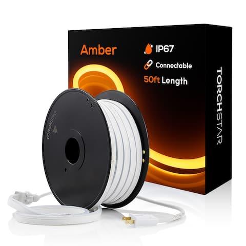 50ft Neon LED Rope Light, IP67 Waterproof, 120V 150ft Linkable Amber