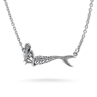 Bling Jewelry .925 Sterling Silver Nautical Mermaid Pendant Necklace 16 Inches
