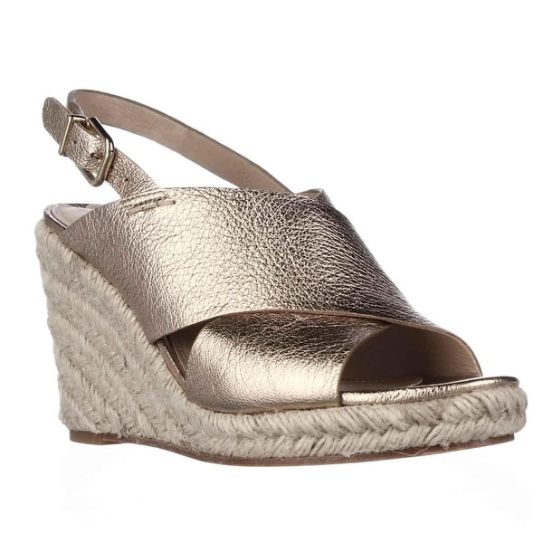 Via Spiga Rosette Esapdrille Slingback Sandals, Gold - 7.5 us / 38 eu