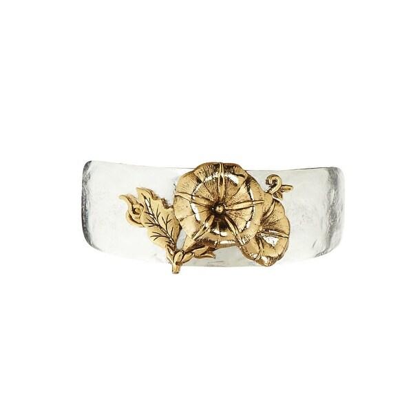 Women's Birth Month Flower Pewter Cuff Bracelet - September - Silver