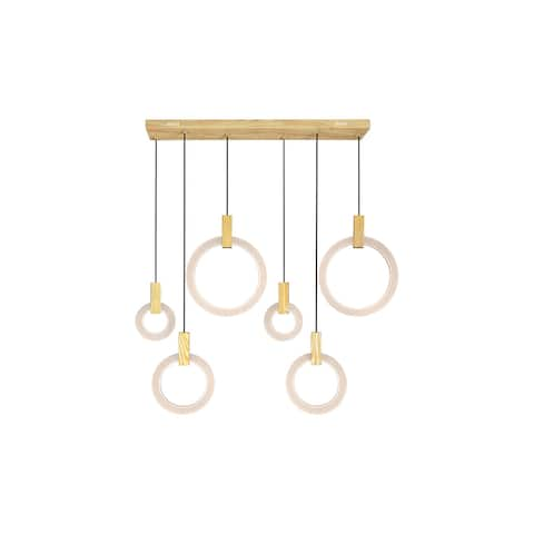 Anello LED Island Chandelier with White Oak Finish - 52-in