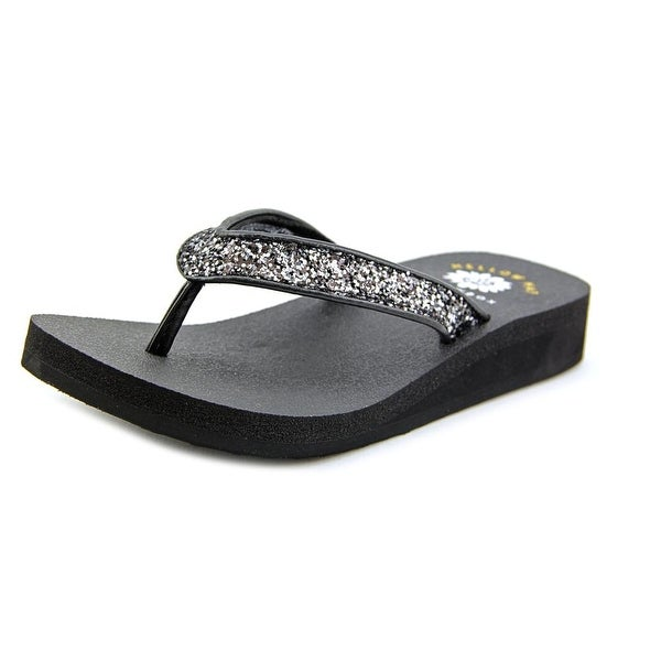 Yellow Box Suzanne II Youth  Open Toe Synthetic Black Thong Sandal