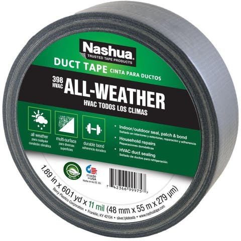 "Nashua 1086188 All-Weather HVAC Duct Tape, Silver, 11 Mil, 1.89"" x 60 Yd, #398"