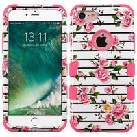 Insten Pink/ White Fresh Roses Tuff Hard PC/ Silicone Dual Layer Hybrid Rubberized Matte Case Cover For Apple iPhone 7