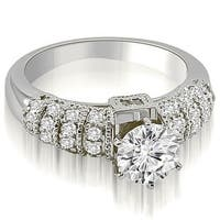 0.90 cttw. 14K White Gold Antique Style Round Cut Diamond Engagement Ring