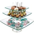 "Palais Glassware® Elegent Glass Cupcake or Cake Stand - Party Centerpiece (8"" - 10"" - 12"" - 3 Tier, Square) - Thumbnail 0"