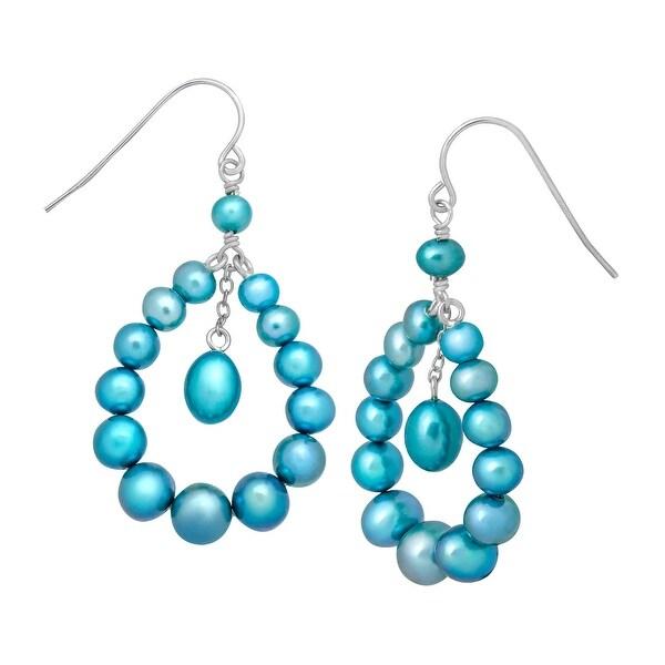 Teal Freshwater Pearl Open Pear Drop Earrings in Sterling Silver