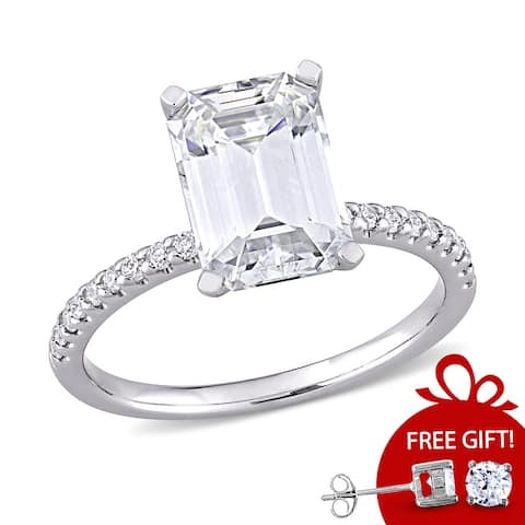 Miadora 3 1/5ct DEW Emerald-cut Moissanite Engagement Ring in 10k White Gold