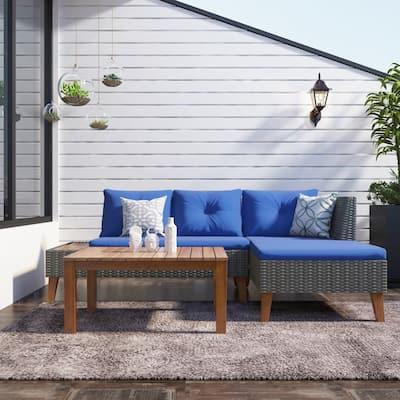 Grey Wicker Outdoor Sectional Sofa Set w/ Blue Cushions