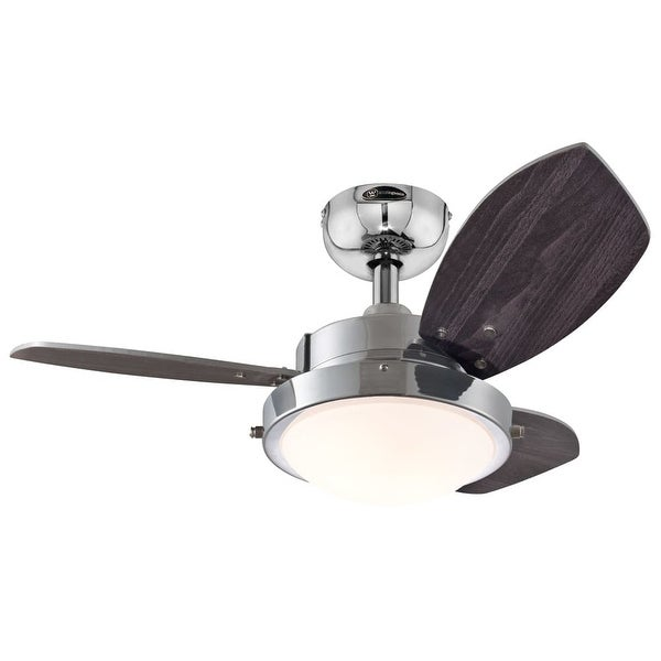 """Westinghouse 7876300 Wengue 30"""" 3 Blade Hanging Indoor Ceiling Fan with Reversible Motor, Blades, Light Kit, & Down Rod Included"""
